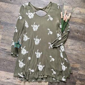 Altar'd State Olive Green Floral Print Dress